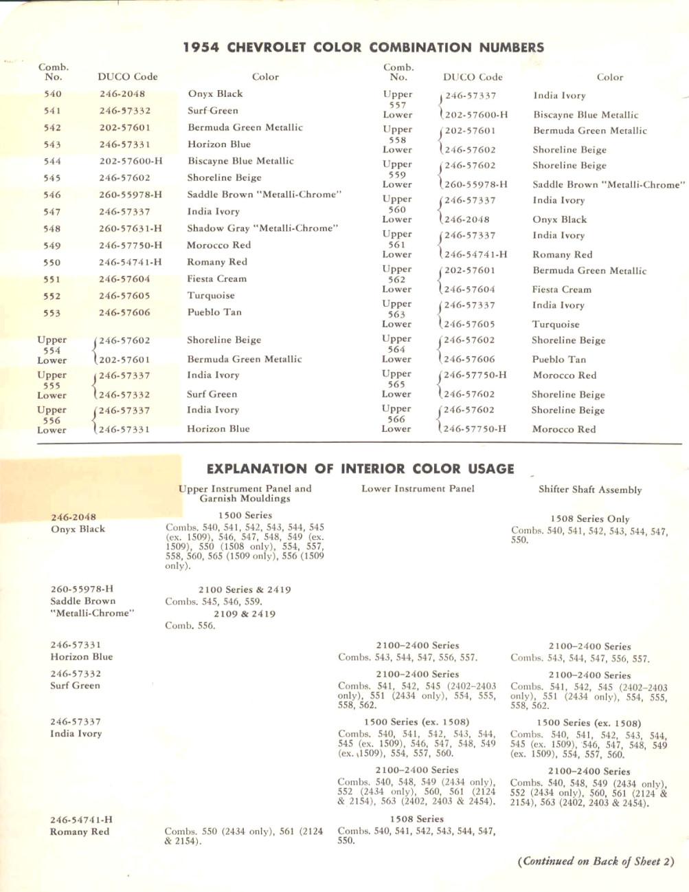1953 1954 Chevrolet Paint Colors